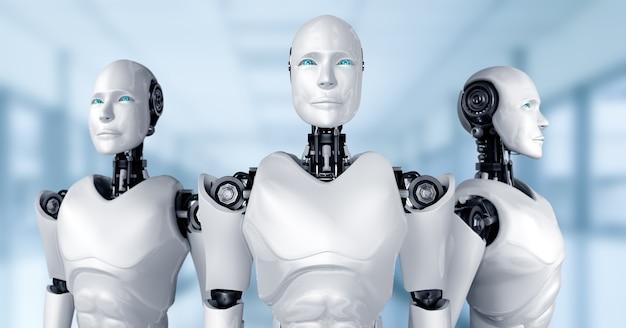 Robot umanoide di squadra ai che mostra il concetto di lavoro di squadra e collaborazione