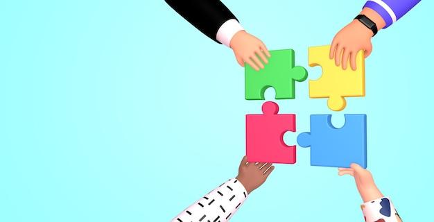 Illustrazione di rendering 3d di lavoro di squadra. mani che tengono e mettono i pezzi del puzzle. coworking team building, business e concetto di partnership.