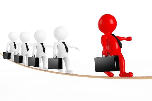 Concetto di lavoro di squadra. leader con business team equilibrato su corda su sfondo bianco. rendering 3d.