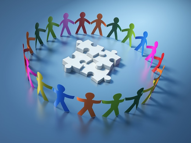 Pittogramma di lavoro di squadra persone con pezzi di puzzle