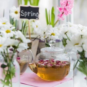 Teiera di tè alle rose con boccioli di rosa