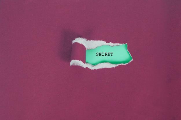 Carta di colore strappo per vedere il testo segreto, concetto di business.