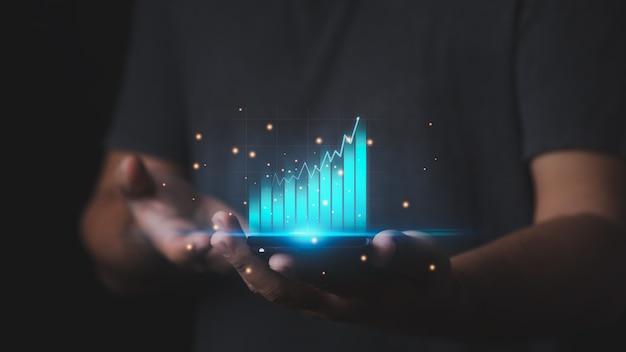 Grafico grafico degli investimenti tecnici per l'analisi del mercato azionario concetto finanziario e di pianificazione bancaria