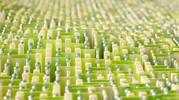 Astrazione di cubi di geometria high-tech techno nel rendering 3d