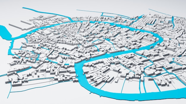 Techno mega city, rendering 3d