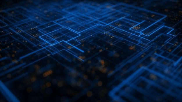 Sfondo astratto tecnologico hud scifi 3d illustration