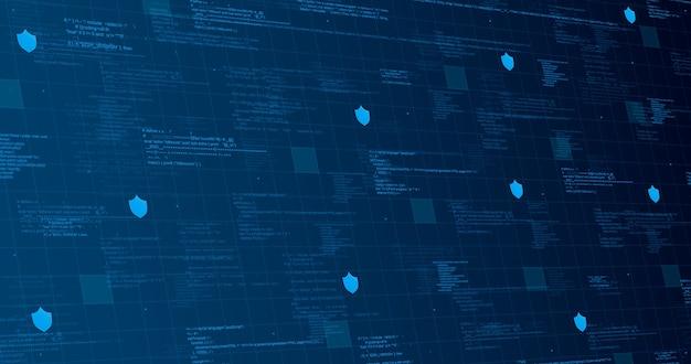 Sfondo tecnologico blu con elementi di codice e linee di luci