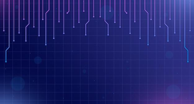 Background tecnologico con elementi del circuito e punti salienti 3d