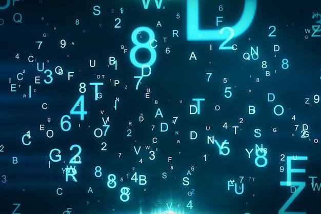 Fondo tecnologico con le lettere di volo e figure illustrazione 3d