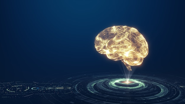 Tecnologia intelligenza artificiale (ai) concetto di dati digitali di animazione del cervello. big data flow analysis. tecnologie moderne di deep learning. futuristica innovazione tecnologica informatica. rete digitale veloce.