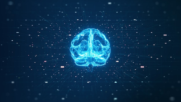 Tecnologia intelligenza artificiale (ai) concetto di dati digitali di animazione del cervello. big data flow analysis.