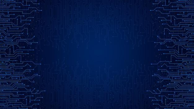 Sfondo di tecnologia blu con elementi del circuito 3d