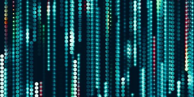 Illustrazione 3d dei punti al neon dell'estratto del cerchio del fondo di tecnologia
