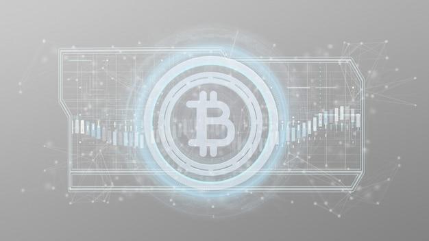 Icona di tecnologia bitcoin su un cerchio isolato