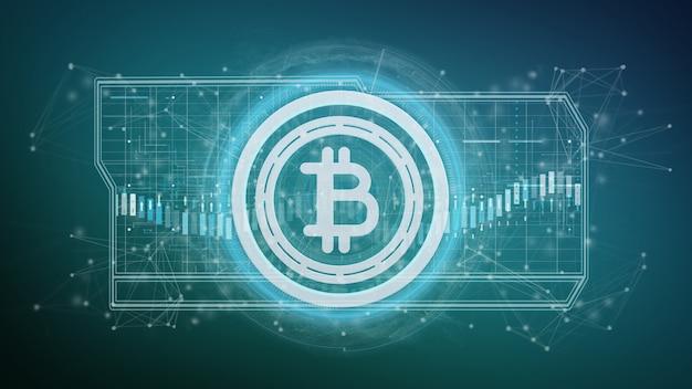 Icona di tecnologia bitcoin su un cerchio