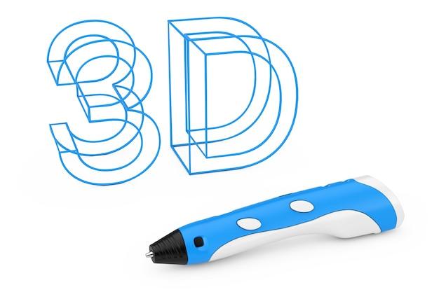 Concetto di tecnologia. penna di stampa 3d vicino al segno di lettere 3d in plastica su uno sfondo bianco. rendering 3d Foto Premium