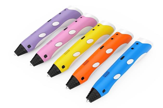 Concetto di tecnologia. penne colorate di stampa 3d su una priorità bassa bianca. rendering 3d