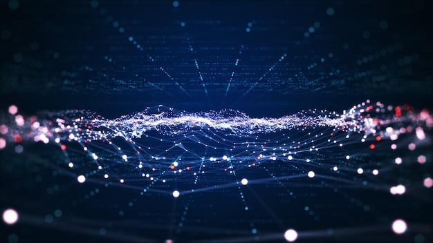 Tecnologia di connessione dati digitali e concetto di big data. linee astratte e punti collegano lo sfondo. forma futuristica. sfondo astratto generato dal computer. rappresentazione 3d.
