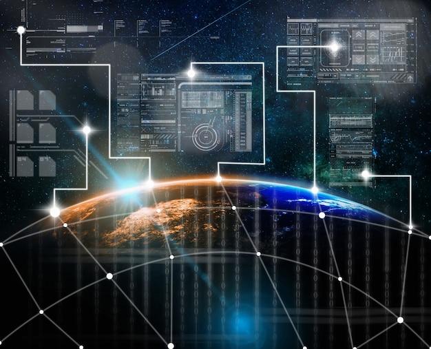 Schermo virtuale digitale della tecnologia con la connessione di rete su una parte della terra