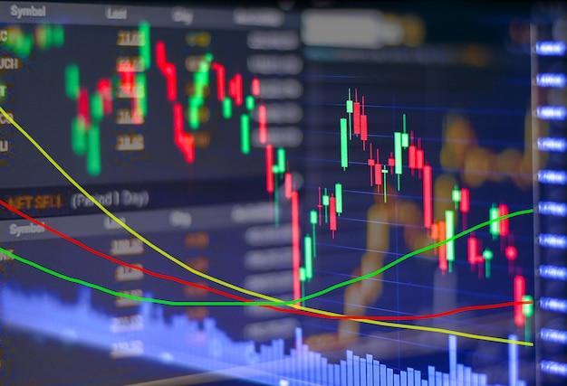 Tecnologia futuristica con il globo del mondo e spostare i grafici del grafico commerciale degli investimenti di strumenti finanziari