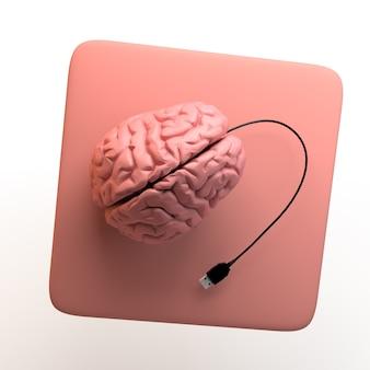 Icona di tecnologia con cervello e cavo usb isolato su priorità bassa bianca. app. illustrazione 3d.