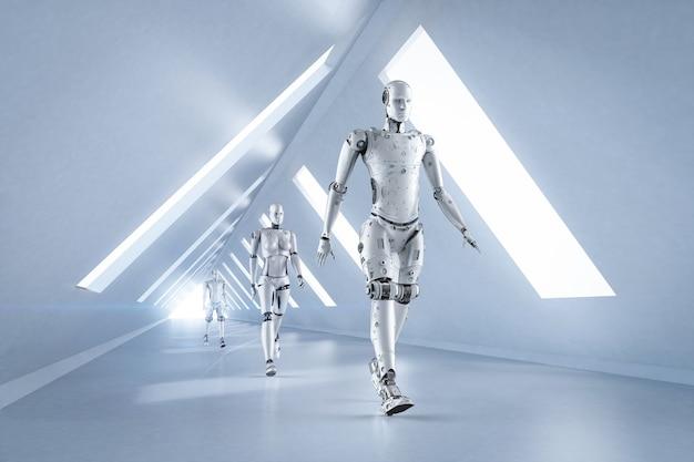 Concetto di miglioramento della tecnologia con gruppo di rendering 3d di cyborg che camminano