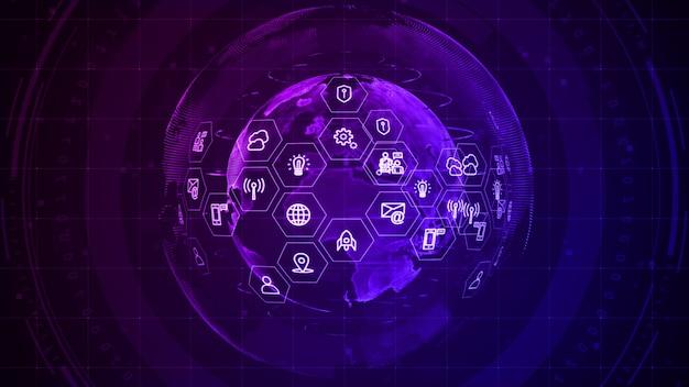 Progettazione digitale di connessione dati di rete tecnologica su sfondo viola