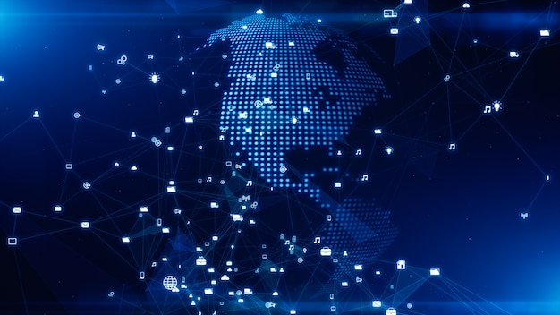 Connessione dati di rete tecnologica, rete digitale e concetto di sicurezza informatica.
