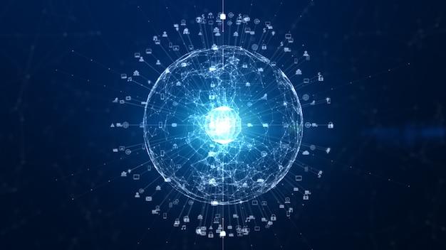 Connessione dati di rete tecnologica, rete digitale e concetto di sicurezza informatica