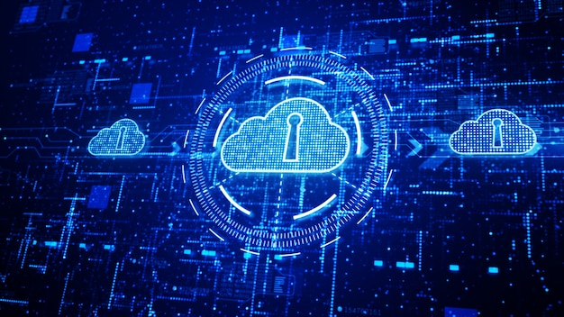 Rete tecnologica e connessione dati, secure data network digital cloud computing