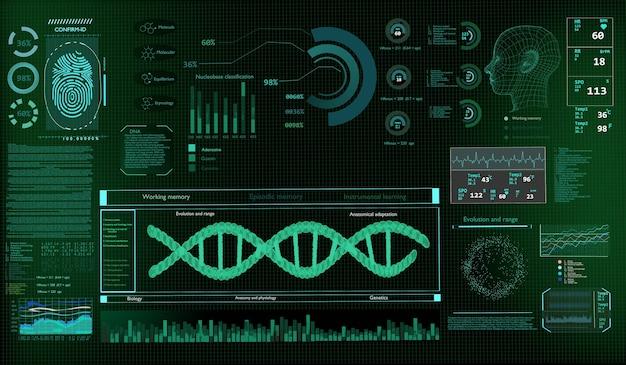 Tecnologia scienza concetto dna futuristico sullo sfondo del monitor. rendering 3d