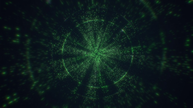 Tunnel tecnologico, linee digitali, big data. rendering 3d che volano nel tunnel tecnologico digitale.