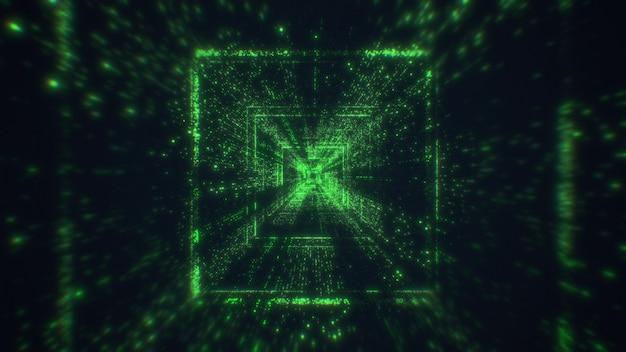 Tunnel tecnologico. volare nel tunnel tecnologico digitale. rendering 3d.