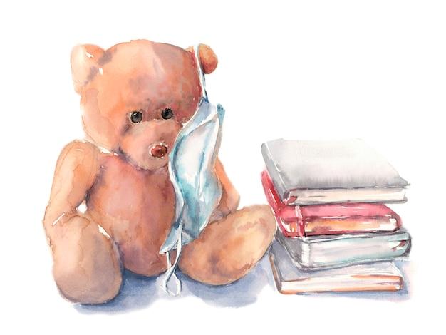 Orsacchiotto di peluche in una maschera medica con libri, apprendimento a distanza per bambini
