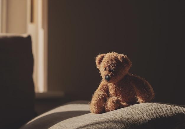 Orsacchiotto di peluche seduto sul divano in una stanza buia con la luce del sole che splende dalla finestra