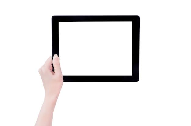Bella ragazza adolescente che tiene un modello di pc tablet nero con schermo bianco isolato su sfondo bianco, close up, mock up, tracciato di ritaglio, tagliate