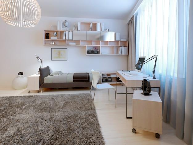 Camera per adolescenti in stile minimalista con letto pulito, mensole pensili e area di lavoro.