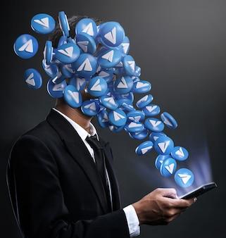 Icone di telegram che spuntano in faccia a un uomo