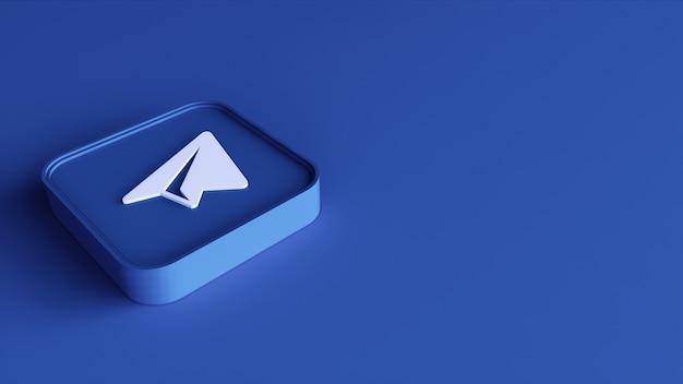 Telegram logo minimal design semplice modello. copia spazio 3d