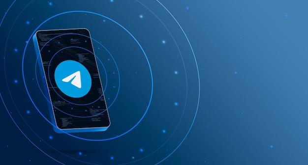 Logo di telegram sul telefono con display tecnologico, rendering 3d intelligente