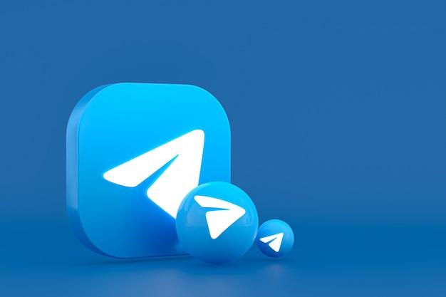 Il rendering del logo minimo di telegram si chiuda per il modello di sfondo di progettazione