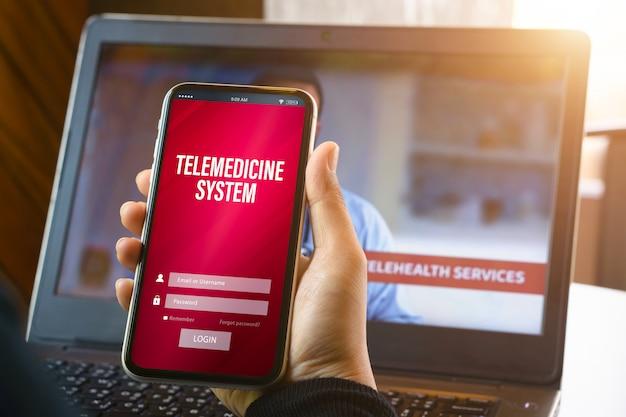 Concetto di applicazione online di telemedicina.