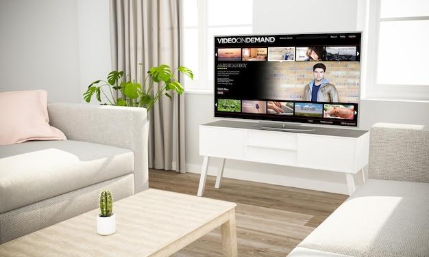 Film in streaming televisivo in interni scandinavi con divano grigio rendering 3d