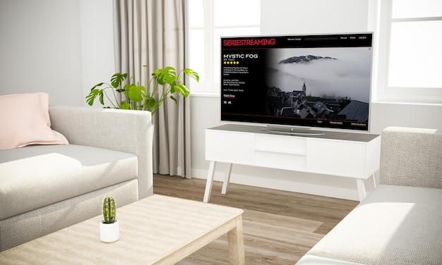 Serie televisiva in streaming in interni scandinavi con divano grigio rendering 3d