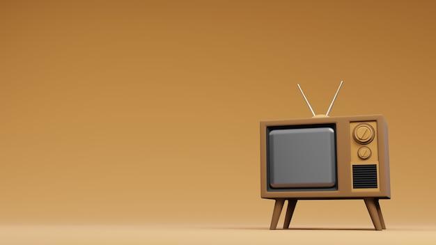 Televisione tv design vintage, rendering 3d
