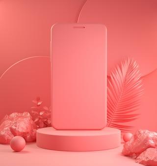 Modello dispositivo smartphone podio per la presentazione con sfondo rosa scena tropicale 3d render