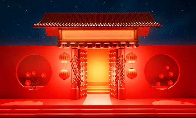 Ingresso cancello aperto del tempio in stile cinese decorato con lanterna rossa e petardi.