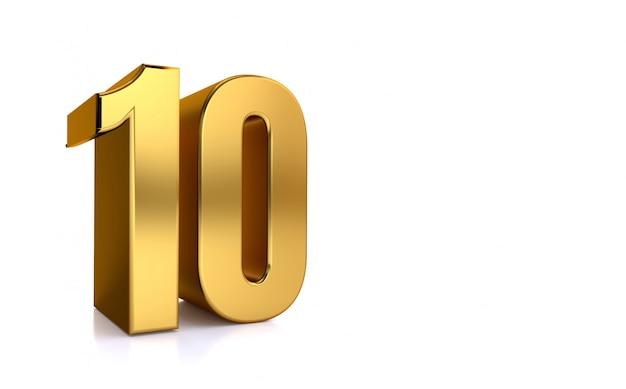 Dieci, illustrazione 3d numero d'oro 10 su sfondo bianco e copia spazio sul lato destro per il testo, meglio per anniversario, compleanno, festa di capodanno.