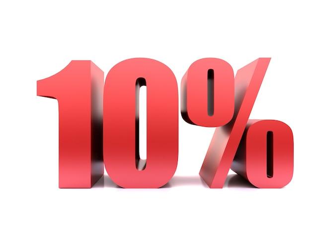 Simbolo del dieci per cento. rendering 3d