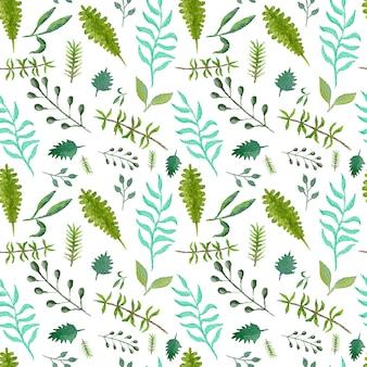 Modello senza cuciture verde tenero con foglie e rami verdi e blu per il design tessile